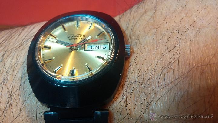 Relojes automáticos: Reloj DUWARD AUTOMATICO, AS 2066, modelo de RARO y ESCASO de color negro en PVD, de los años 70 - Foto 3 - 53395787