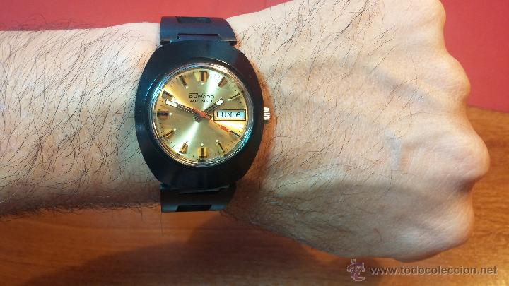 Relojes automáticos: Reloj DUWARD AUTOMATICO, AS 2066, modelo de RARO y ESCASO de color negro en PVD, de los años 70 - Foto 4 - 53395787