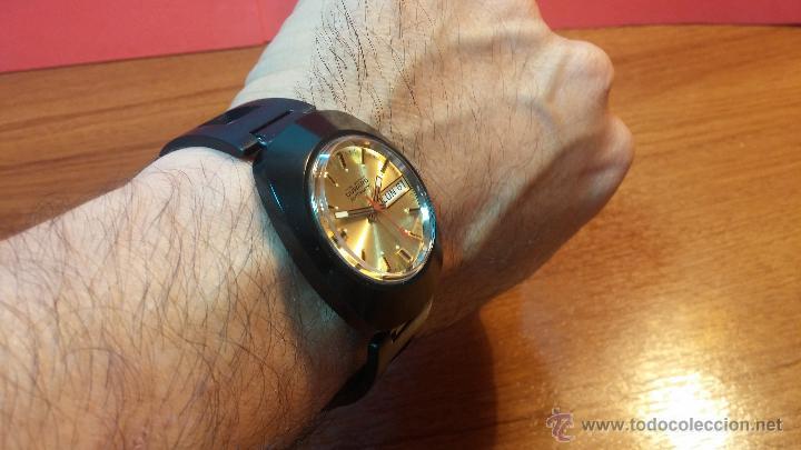 Relojes automáticos: Reloj DUWARD AUTOMATICO, AS 2066, modelo de RARO y ESCASO de color negro en PVD, de los años 70 - Foto 7 - 53395787