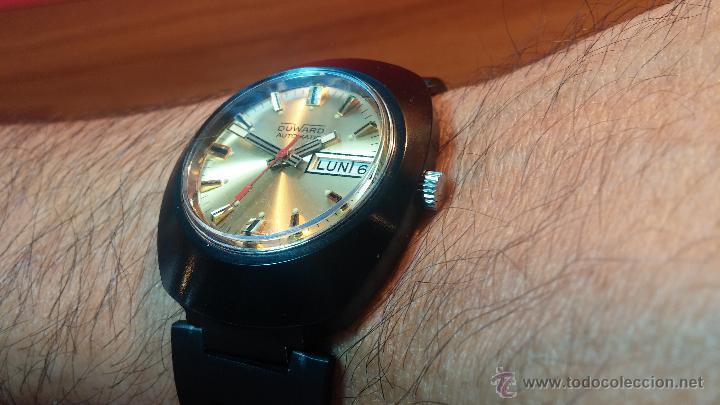 Relojes automáticos: Reloj DUWARD AUTOMATICO, AS 2066, modelo de RARO y ESCASO de color negro en PVD, de los años 70 - Foto 8 - 53395787
