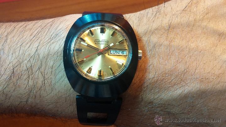 Relojes automáticos: Reloj DUWARD AUTOMATICO, AS 2066, modelo de RARO y ESCASO de color negro en PVD, de los años 70 - Foto 10 - 53395787