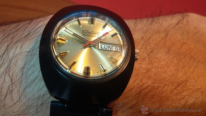 Relojes automáticos: Reloj DUWARD AUTOMATICO, AS 2066, modelo de RARO y ESCASO de color negro en PVD, de los años 70 - Foto 17 - 53395787