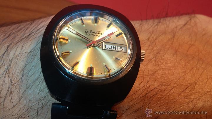 Relojes automáticos: Reloj DUWARD AUTOMATICO, AS 2066, modelo de RARO y ESCASO de color negro en PVD, de los años 70 - Foto 18 - 53395787