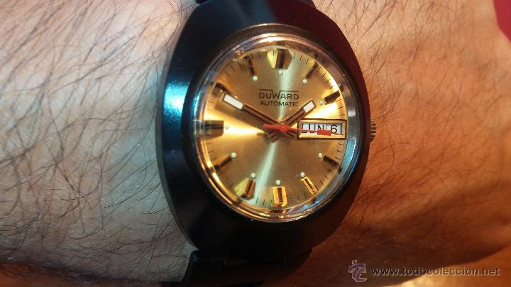 Relojes automáticos: Reloj DUWARD AUTOMATICO, AS 2066, modelo de RARO y ESCASO de color negro en PVD, de los años 70 - Foto 21 - 53395787