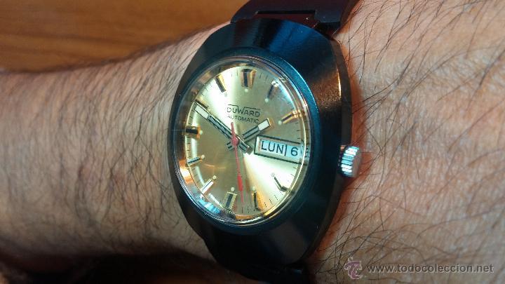 Relojes automáticos: Reloj DUWARD AUTOMATICO, AS 2066, modelo de RARO y ESCASO de color negro en PVD, de los años 70 - Foto 25 - 53395787