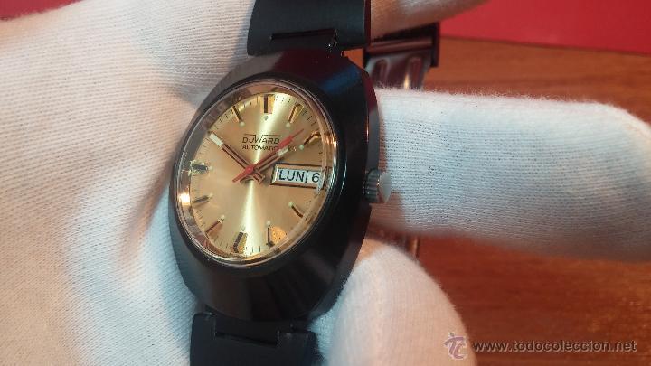 Relojes automáticos: Reloj DUWARD AUTOMATICO, AS 2066, modelo de RARO y ESCASO de color negro en PVD, de los años 70 - Foto 29 - 53395787