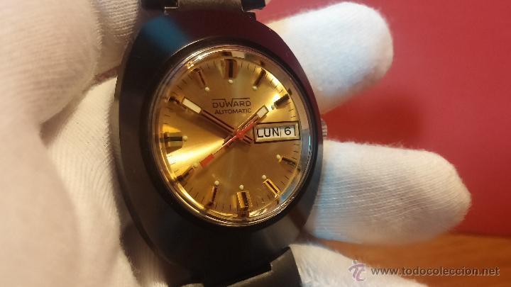 Relojes automáticos: Reloj DUWARD AUTOMATICO, AS 2066, modelo de RARO y ESCASO de color negro en PVD, de los años 70 - Foto 34 - 53395787