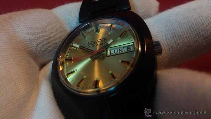 Relojes automáticos: Reloj DUWARD AUTOMATICO, AS 2066, modelo de RARO y ESCASO de color negro en PVD, de los años 70 - Foto 35 - 53395787