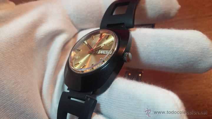 Relojes automáticos: Reloj DUWARD AUTOMATICO, AS 2066, modelo de RARO y ESCASO de color negro en PVD, de los años 70 - Foto 41 - 53395787