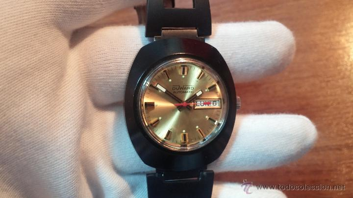Relojes automáticos: Reloj DUWARD AUTOMATICO, AS 2066, modelo de RARO y ESCASO de color negro en PVD, de los años 70 - Foto 45 - 53395787