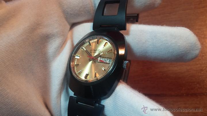 Relojes automáticos: Reloj DUWARD AUTOMATICO, AS 2066, modelo de RARO y ESCASO de color negro en PVD, de los años 70 - Foto 46 - 53395787