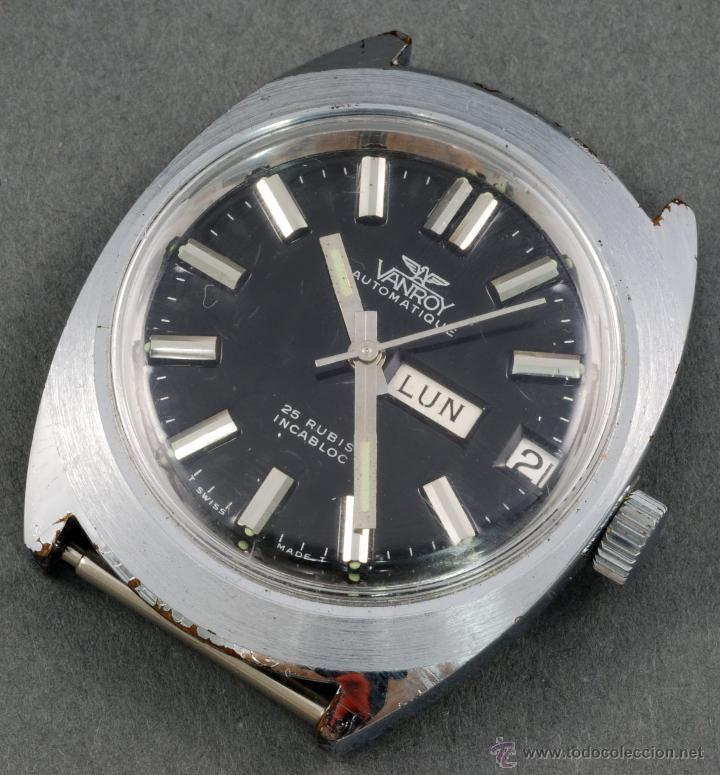 RELOJ AUTOMÁTICO VANROY INCABLOC 25 RUBIS ESFERA NEGRA FUNCIONA (Relojes - Relojes Automáticos)
