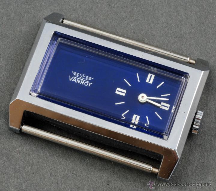 RELOJ A CUERDA VANROY ESFERA AZUL RECTÁNGULO FUNCIONA (Relojes - Relojes Automáticos)