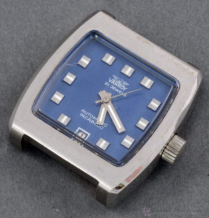 RELOJ AUTOMÁTICO VANROY 21 JEWELLS INCABLOC ESFERA AZUL CUADRADA FUNCIONA (Relojes - Relojes Automáticos)