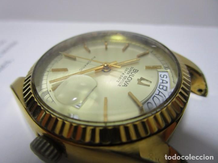 Relojes automáticos: ANTIGUO RELOJ BULOVA SUPER SEVILLE DAY DATE PRESIDENCIAL AUTOMATICO HOMBRE 37mm CHAPADO ORO VINTAGE - Foto 4 - 63604124