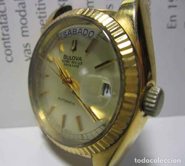 ANTIGUO RELOJ BULOVA SUPER SEVILLE DAY DATE PRESIDENCIAL AUTOMATICO HOMBRE 37MM CHAPADO ORO VINTAGE (Relojes - Relojes Automáticos)