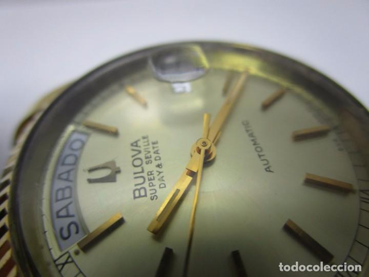 Relojes automáticos: ANTIGUO RELOJ BULOVA SUPER SEVILLE DAY DATE PRESIDENCIAL AUTOMATICO HOMBRE 37mm CHAPADO ORO VINTAGE - Foto 7 - 63604124