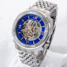 Relojes automáticos: VINCE CAMUTO DE ACERO INOXIDABLE RELOJ AUTOMÁTICO AZUL CARA EXPUESTA . Lote 69819498