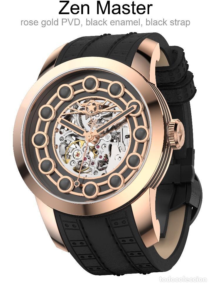 WATCHSTAR MASTER ROSA ORO ESMALTE NEGRO ESQUELETO AUTOMATICO RELOJ EXÓTICO 47MM (Relojes - Relojes Automáticos)
