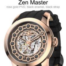 Relojes automáticos: WATCHSTAR MASTER ROSA ORO ESMALTE NEGRO ESQUELETO AUTOMATICO RELOJ EXÓTICO 47MM. Lote 65654186