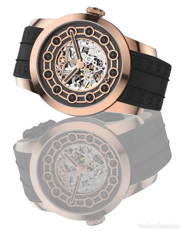Relojes automáticos: watchstar Master Rosa Oro Esmalte Negro Esqueleto Automatico Reloj exótico 47mm - Foto 2 - 65654186