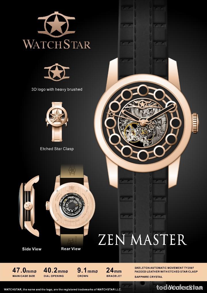 Relojes automáticos: watchstar Master Rosa Oro Esmalte Negro Esqueleto Automatico Reloj exótico 47mm - Foto 4 - 65654186