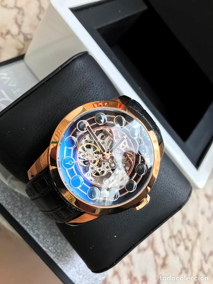 Relojes automáticos: watchstar Master Rosa Oro Esmalte Negro Esqueleto Automatico Reloj exótico 47mm - Foto 7 - 65654186