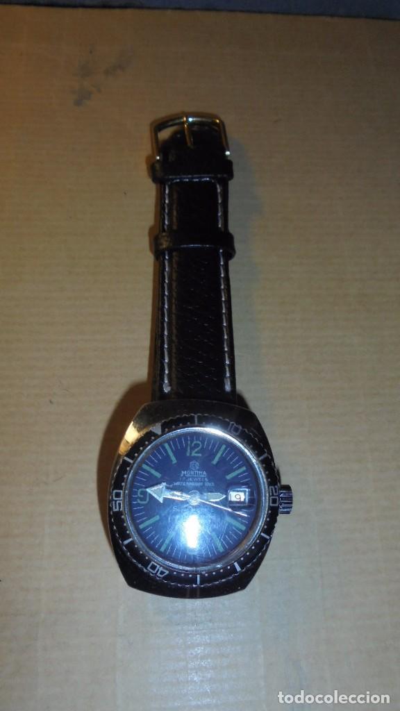 Relojes automáticos: ANTIGUO RELOJ DE ACERO - MORTIMA 17 JEWELS SUPER D ATOMATIC ESFERA AZUL GRISACEA . FUNCIONANDO 4X3,8 - Foto 2 - 80080445