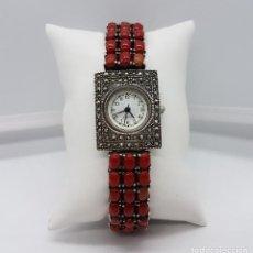 Relojes automáticos: MAGNÍFICO RELOJ ANTIGUO DE ESTILO ART DECÓ EN PLATA DE LEY CON MARQUESITAS Y CABUJONES DE CORAL .. Lote 84743444