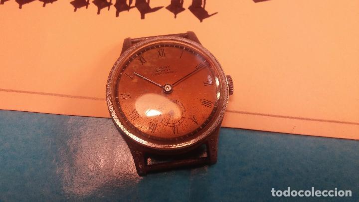 Relojes automáticos: Botito antiguo reloj CAUNY GENEVE 15 RUBIS, de cuerda, funcionando, esfera muy botita, pasador fijo - Foto 4 - 85178232