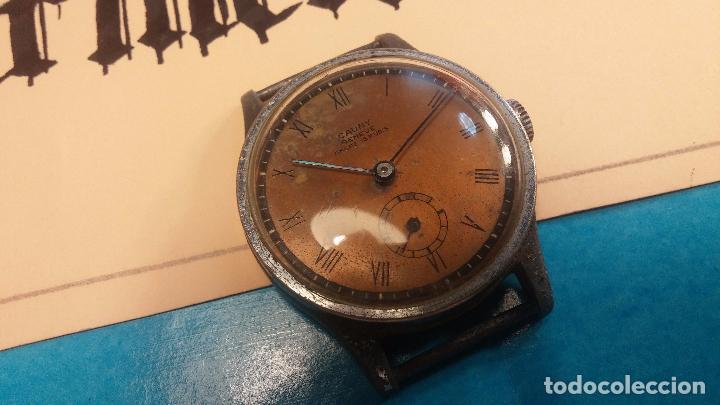 Relojes automáticos: Botito antiguo reloj CAUNY GENEVE 15 RUBIS, de cuerda, funcionando, esfera muy botita, pasador fijo - Foto 5 - 85178232