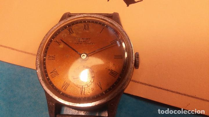 Relojes automáticos: Botito antiguo reloj CAUNY GENEVE 15 RUBIS, de cuerda, funcionando, esfera muy botita, pasador fijo - Foto 6 - 85178232