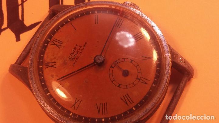 Relojes automáticos: Botito antiguo reloj CAUNY GENEVE 15 RUBIS, de cuerda, funcionando, esfera muy botita, pasador fijo - Foto 7 - 85178232