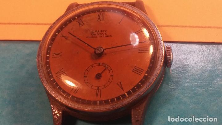 Relojes automáticos: Botito antiguo reloj CAUNY GENEVE 15 RUBIS, de cuerda, funcionando, esfera muy botita, pasador fijo - Foto 10 - 85178232