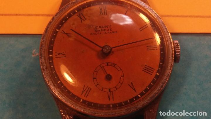 Relojes automáticos: Botito antiguo reloj CAUNY GENEVE 15 RUBIS, de cuerda, funcionando, esfera muy botita, pasador fijo - Foto 13 - 85178232
