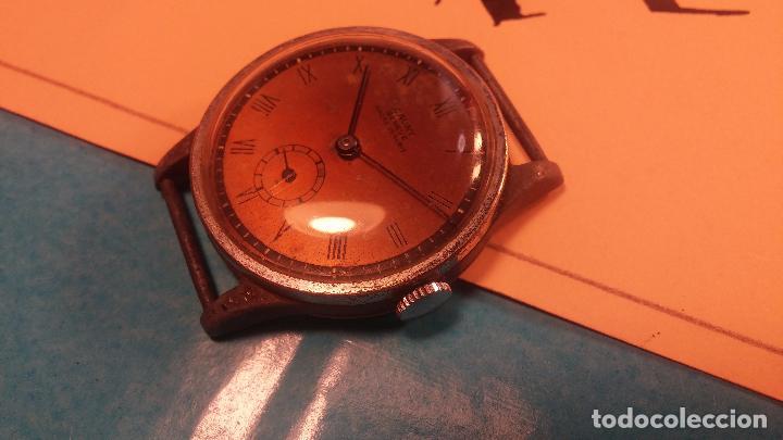 Relojes automáticos: Botito antiguo reloj CAUNY GENEVE 15 RUBIS, de cuerda, funcionando, esfera muy botita, pasador fijo - Foto 19 - 85178232