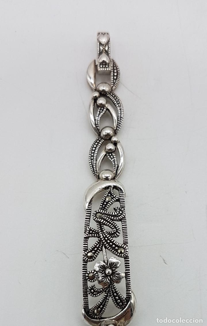 Relojes automáticos: Bello reloj antiguo de estilo modernista en plata de ley troquelada con marquesitas talla brillante. - Foto 2 - 133524826