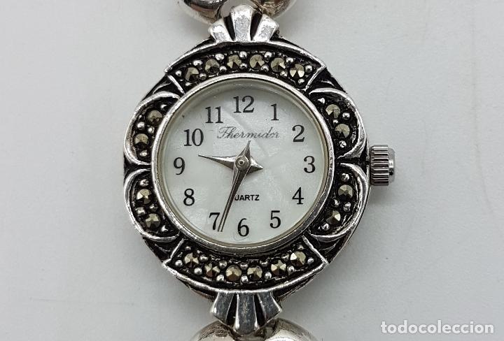 Relojes automáticos: Bello reloj antiguo de estilo modernista en plata de ley troquelada con marquesitas talla brillante. - Foto 3 - 133524826