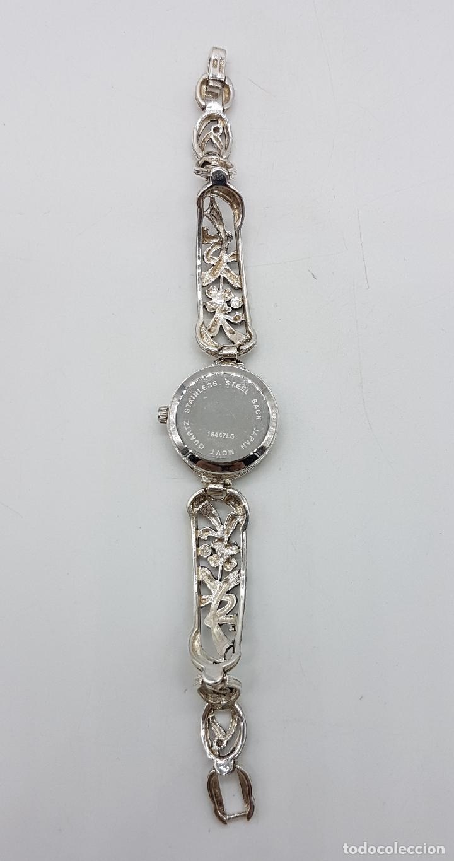 Relojes automáticos: Bello reloj antiguo de estilo modernista en plata de ley troquelada con marquesitas talla brillante. - Foto 5 - 133524826