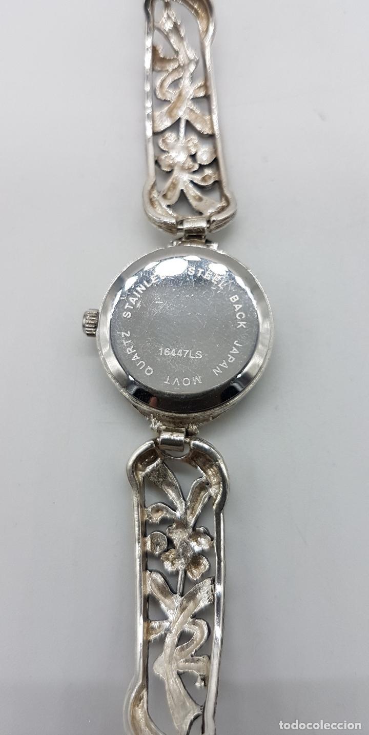 Relojes automáticos: Bello reloj antiguo de estilo modernista en plata de ley troquelada con marquesitas talla brillante. - Foto 7 - 133524826