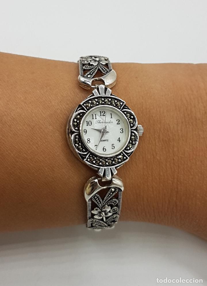 Relojes automáticos: Bello reloj antiguo de estilo modernista en plata de ley troquelada con marquesitas talla brillante. - Foto 8 - 133524826