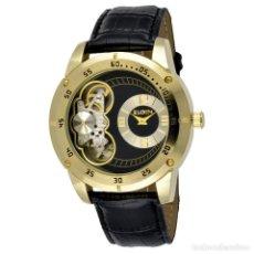 Relojes automáticos: RELOJ DEPORTIVO ELGIN HOMBRE ORO AUTOMÁTICO Y CUARZO CORREA DE CUERO NEGRO. Lote 161117525