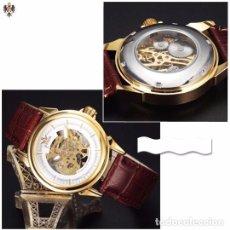 Relojes automáticos: RELOJ AUTOMATICO HOMBRE CAJA DE ACERO + CORREA CUERO. Lote 124486104