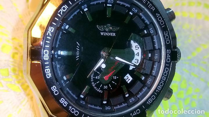 RELOJ WINNER. AUTOMATICO. VARIAS FUNCIONES. 46 MM. SIN SEÑALES USO. IMPECABLE. FUNCIONANDO. (Relojes - Relojes Automáticos)