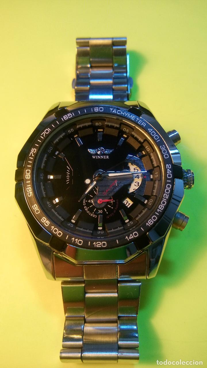 Relojes automáticos: RELOJ WINNER. AUTOMATICO. VARIAS FUNCIONES. 46 MM. SIN SEÑALES USO. IMPECABLE. FUNCIONANDO. - Foto 2 - 102334147