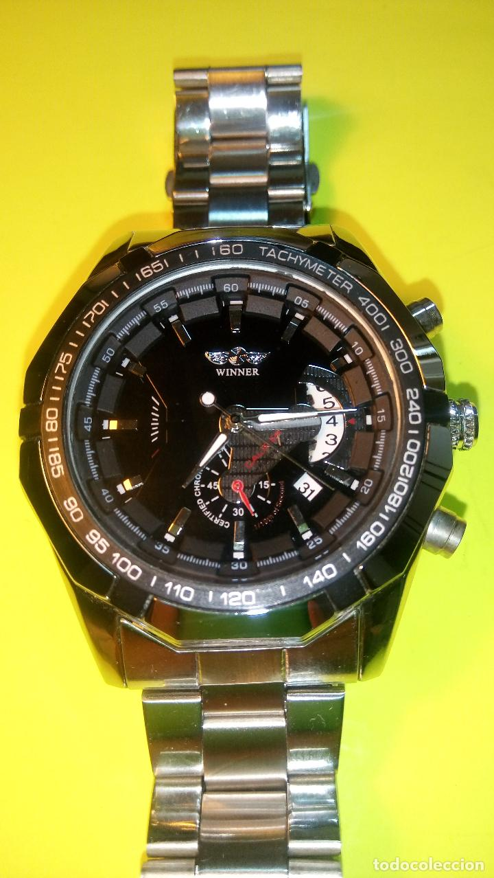 Relojes automáticos: RELOJ WINNER. AUTOMATICO. VARIAS FUNCIONES. 46 MM. SIN SEÑALES USO. IMPECABLE. FUNCIONANDO. - Foto 3 - 102334147
