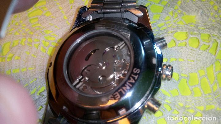 Relojes automáticos: RELOJ WINNER. AUTOMATICO. VARIAS FUNCIONES. 46 MM. SIN SEÑALES USO. IMPECABLE. FUNCIONANDO. - Foto 6 - 102334147