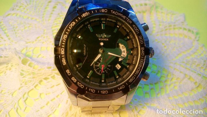 Relojes automáticos: RELOJ WINNER. AUTOMATICO. VARIAS FUNCIONES. 46 MM. SIN SEÑALES USO. IMPECABLE. FUNCIONANDO. - Foto 8 - 102334147