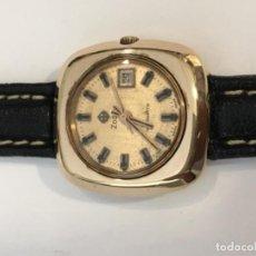 Relojes automáticos: RELOJ ZODIAC AUTOMÁTICO CAJA CHAPADA ORO Y CORREA DE PIEL. Lote 103558531