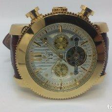 Relojes automáticos: RELOJ SKELETON AUTOMATICO DE CABALLERO DORADO. Lote 103809027